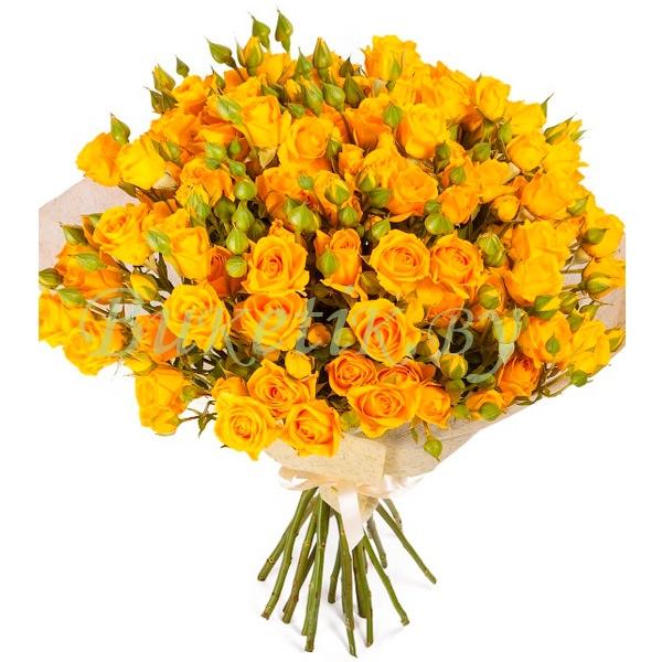 Букет из желтой кустовой розы