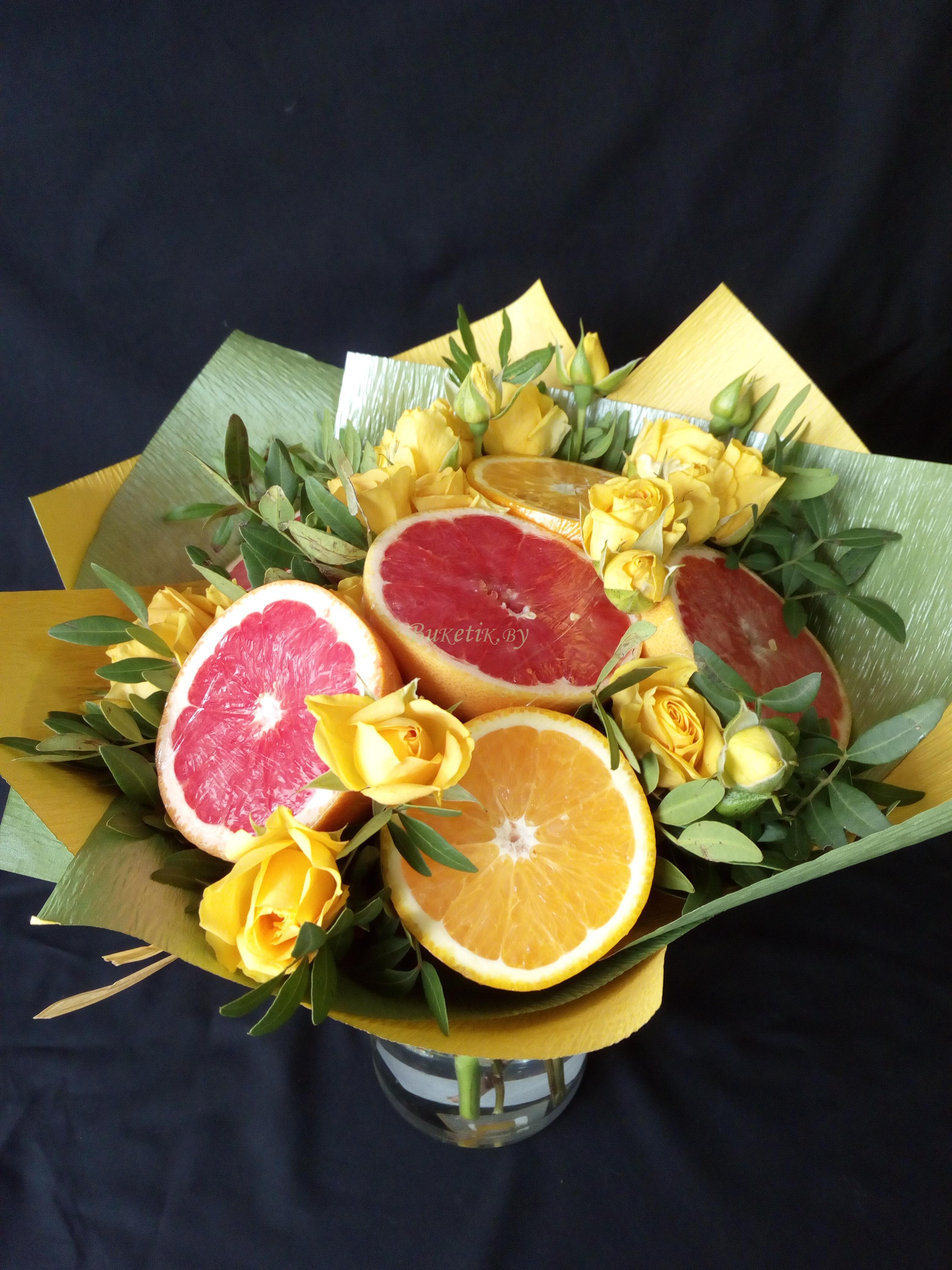 Букет с грейпфрутом и апельсином