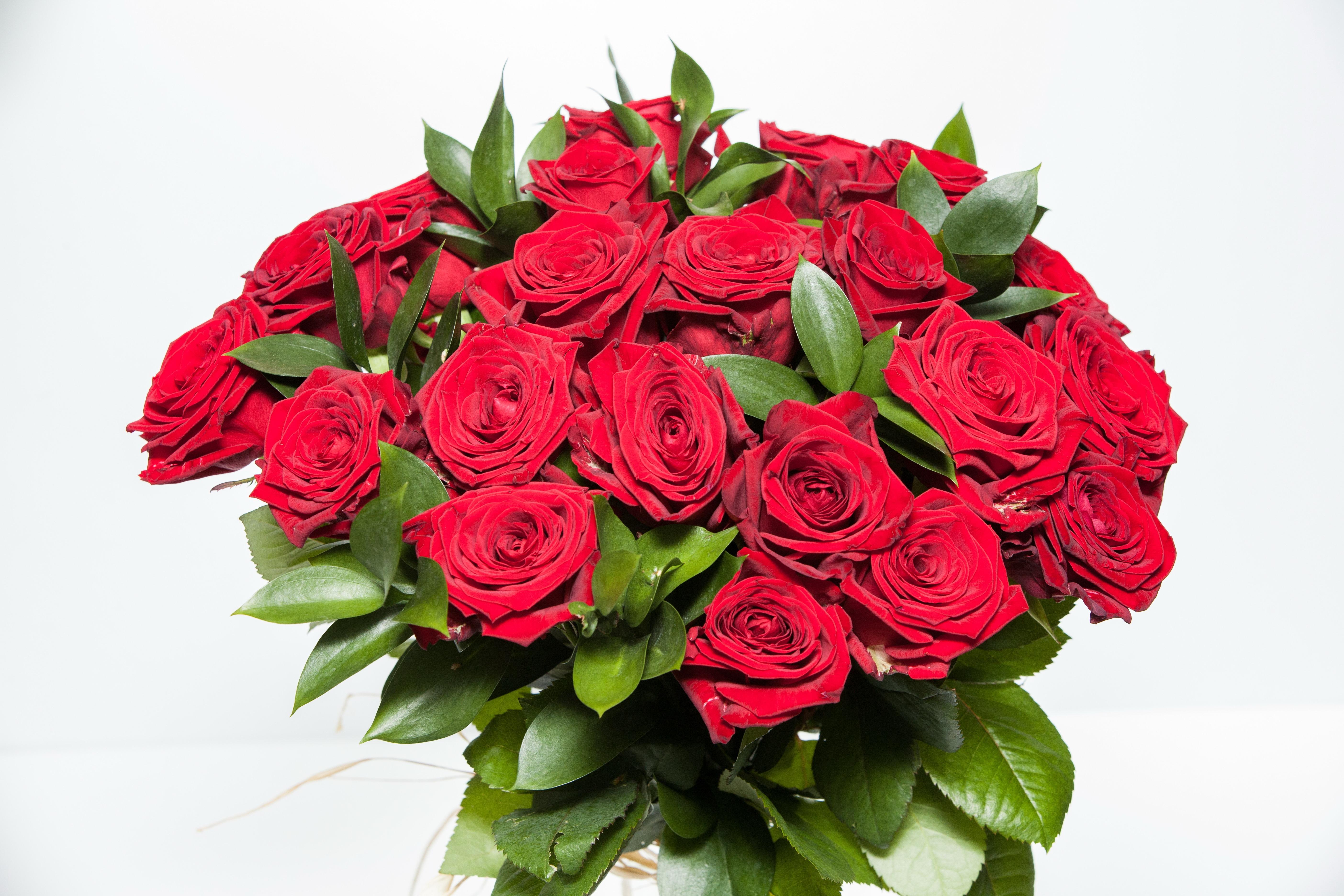25 красных роз с рускусом