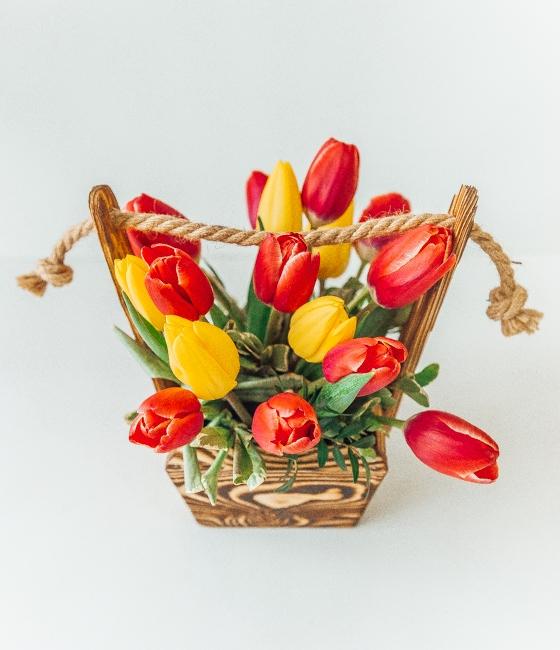 Ящик с тюльпанами